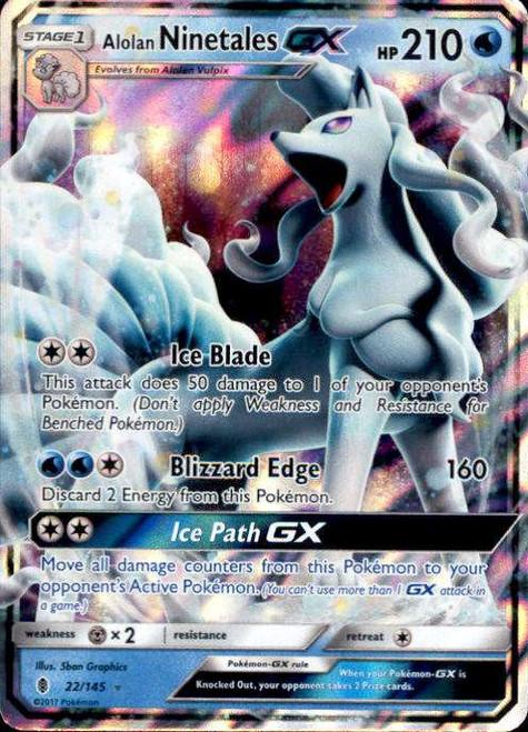 Pokemon Sun & Moon Guardians Rising Ultra Rare Alolan Ninetales GX #22