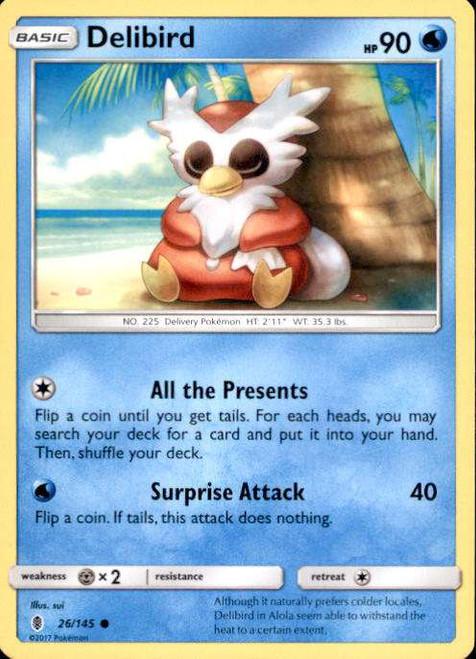Pokemon Sun & Moon Guardians Rising Common Delibird #26