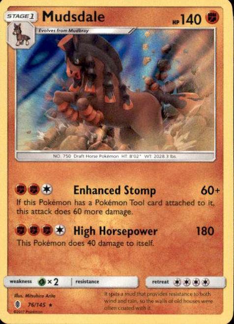 Pokemon Sun & Moon Guardians Rising Rare Holo Mudsdale #76