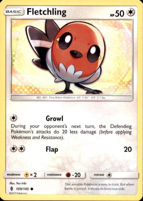 Pokemon Sun & Moon Guardians Rising Common Fletchling #109