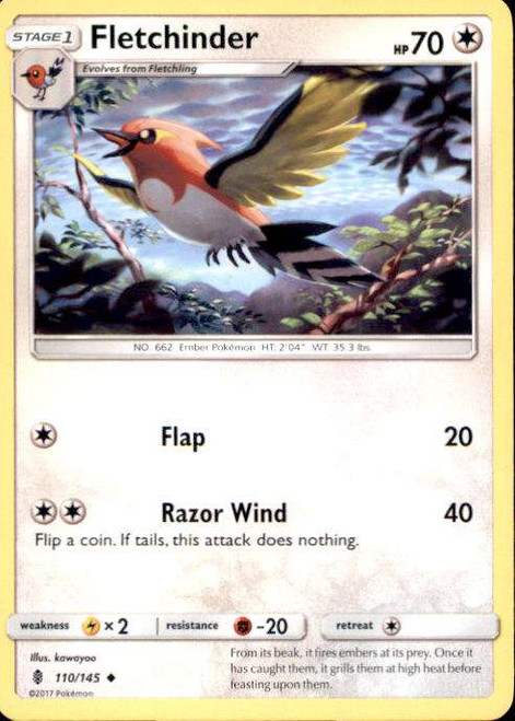 Pokemon Sun & Moon Guardians Rising Uncommon Fletchinder #110