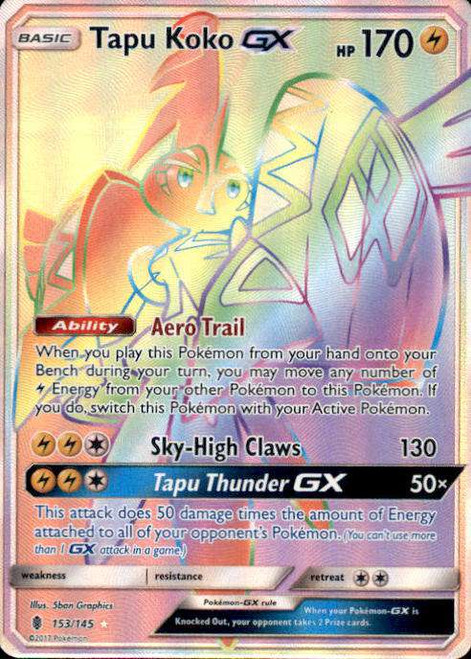 Pokemon Sun & Moon Guardians Rising Hyper Rare Tapu Koko GX #153