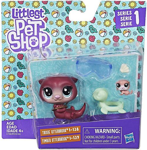 Littlest Pet Shop 2017 Pet Pairs Trixie & Timber Otterbrook Figure 2-Pack