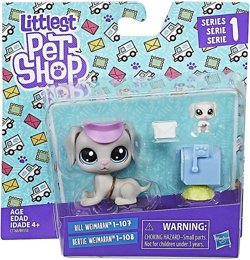 Littlest Pet Shop 2017 Pet Pairs Bill & Bertie Weimaran Figure 2-Pack