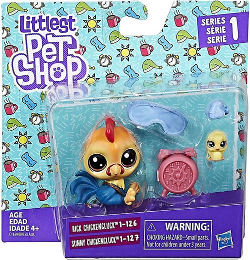 Littlest Pet Shop 2017 Pet Pairs Rick & Sunny Chickencluck Figure 2-Pack