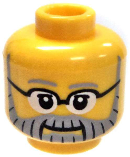 Yellow Male with Full Gray Beard and Glasses Minifigure Head [Loose]