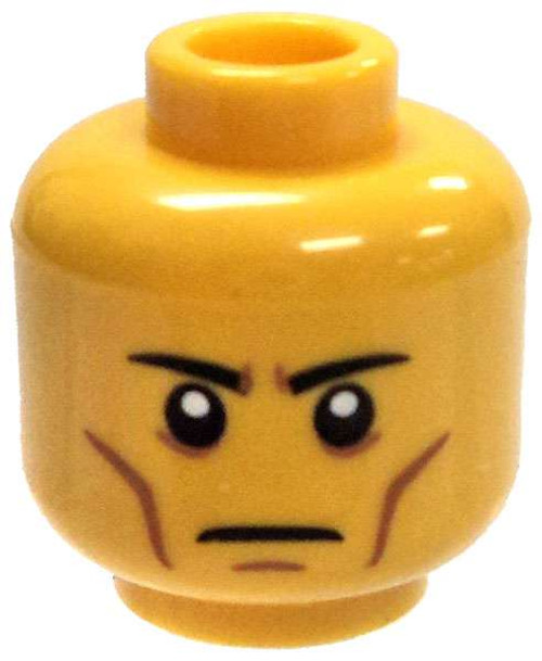 Yellow Head with Stern Look and Cheek Lines Minifigure Head [Loose]