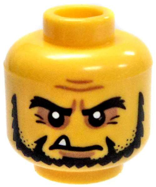 Yellow Male with Bushy Eyebrows and Tooth Hanging Out Minifigure Head [Loose]