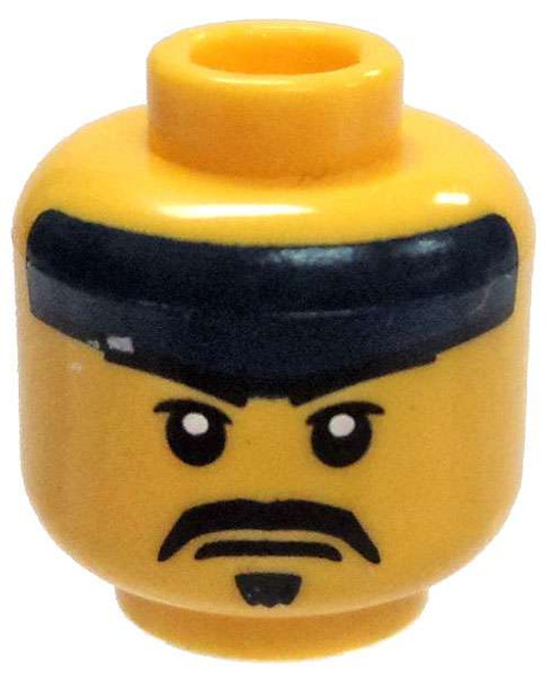 Yellow Male with Dark Blue Headband, Mustache, and Goatee Minifigure Head [Loose]
