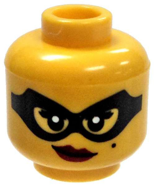 Yellow Female Head with Black Mask with Dark Red Lipstick Minifigure Head [Loose]