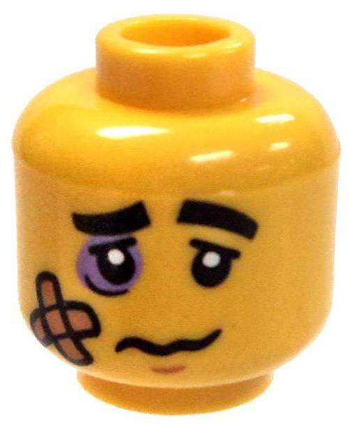 Yellow Head with Black Eye and Bandage Minifigure Head [Loose]