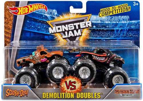 Hot Wheels Monster Jam 25 Demolition Doubles Scooby Doo! vs Monster Mutt Rottweiler Diecast Car 2-Pack