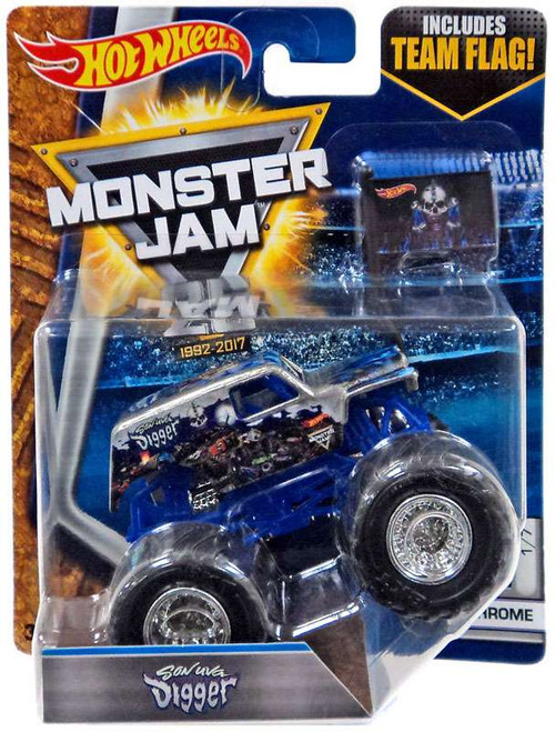 Hot Wheels Monster Jam 25 Son Uva Digger Die-Cast Car #1/7 [Chrome]