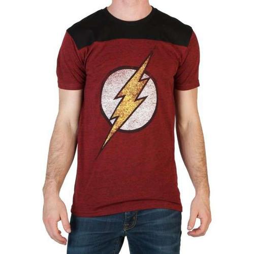 DC Flash Mens Red/Black Yoke Tee Shirt Apparel [Extra Large]