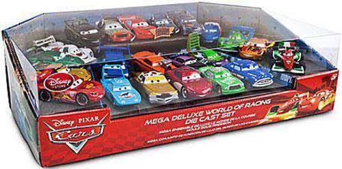 Disney / Pixar Cars 1:48 Multi-Packs Mega Deluxe World of Racing Exclusive Diecast Car Set [Damaged Package]