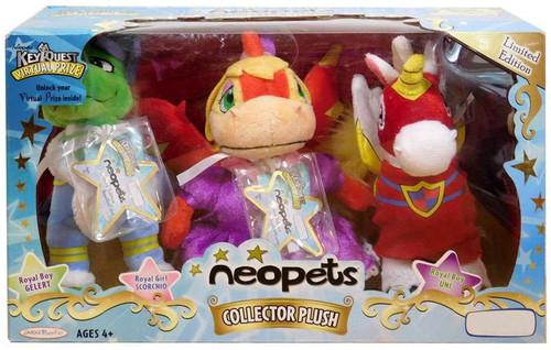 Neopets Royal Boy Gelert, Royal Girl Scorchio & Royal Boy Uni Exclusive Plush Set