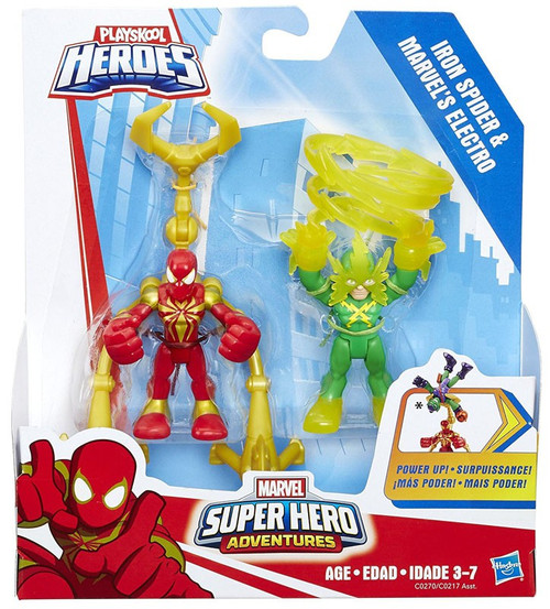 Playskool Heroes Super Hero Adventures Iron Spider & Marvel's Electro Action Figure 2-Pack [Power Up]