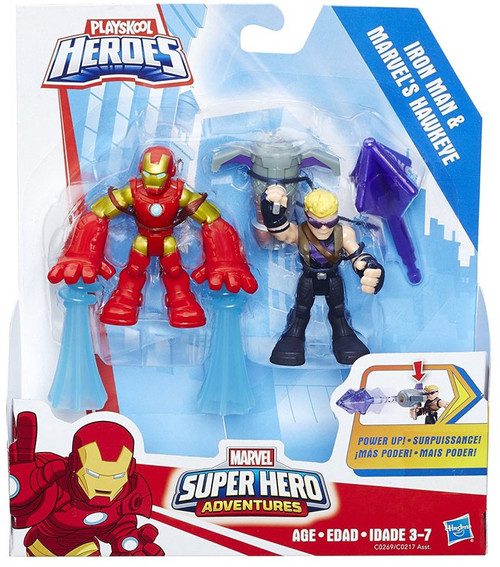 Marvel Playskool Heroes Super Hero Adventures Iron Man & Hawkeye Action Figure 2-Pack [Power Up]