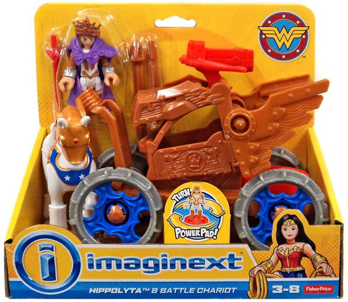 Fisher Price DC Super Friends Imaginext Wonder Woman Hippolyta & Battle Chariot 3-Inch Figure Set