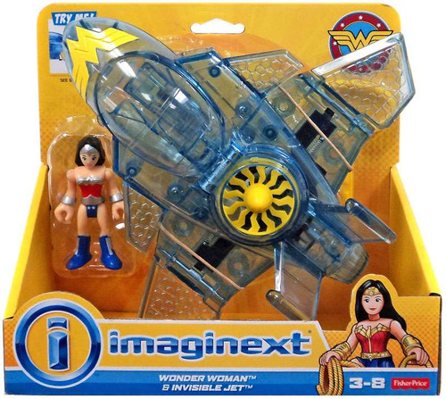 Fisher Price DC Super Friends Imaginext Wonder Woman & Invisible Jet 3-Inch Figure Set [2nd Version]