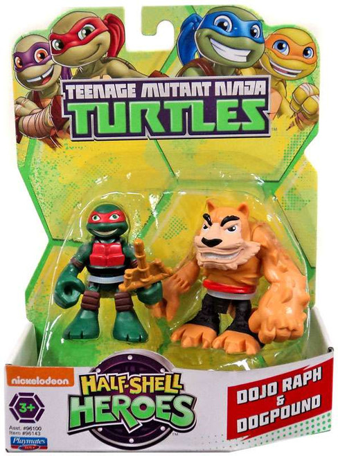 Teenage Mutant Ninja Turtles TMNT Half Shell Heroes Dojo Raph & Dogpound Action Figure