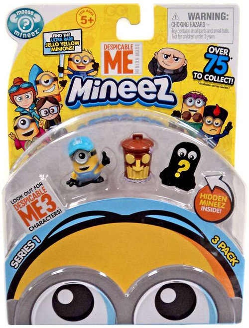 Despicable Me Minions Mineez Series 1 Boss Man Mel & Tiki Trash Can Mini Figure 3-Pack