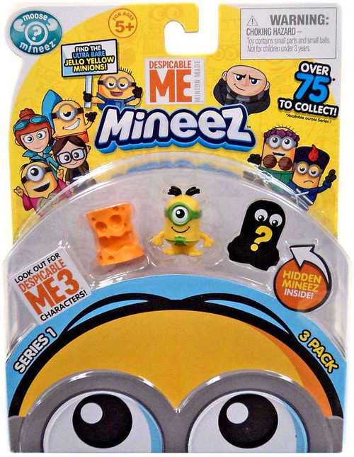 Despicable Me Minions Mineez Series 1 Cheez head & Au Naturel Minion Mini Figure 3-Pack