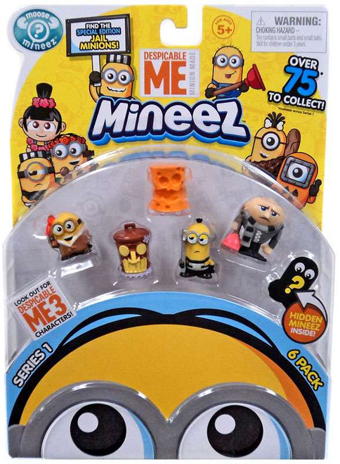 Despicable Me Minions Mineez Series 1 Bored Silly Bob, Tiki Trash Can, Cheez Head, Bustin' Out Minion & Plunger Gru Mini Figure 6-Pack