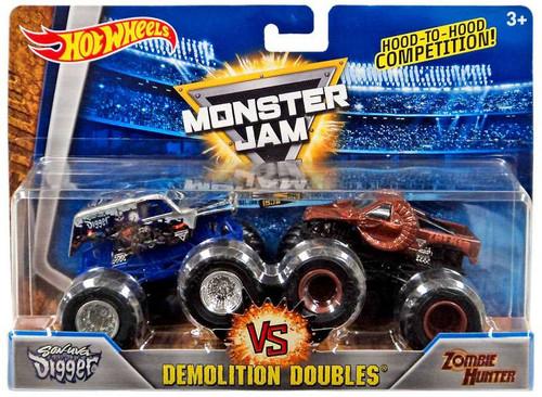 Hot Wheels Monster Jam 25 Demolition Doubles Son-Uva Digger & Zombie Hunter Diecast Car 2-Pack