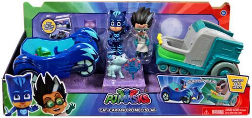 Disney Junior PJ Masks Cat-Car & Romeo's Lab Exclusive Vehicle & Figure 2-Pack