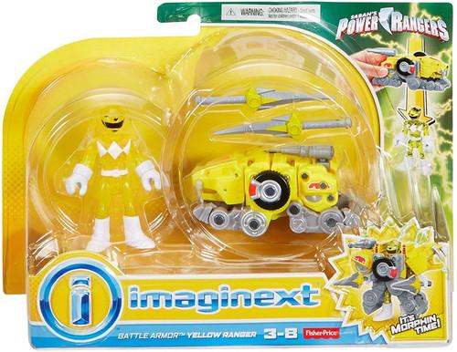 Fisher Price Power Rangers Imaginext Mighty Morphin Battle Armor Yellow Ranger Figure Set