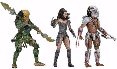 NECA Predator Series 18 Hornhead, Broken Tusk & Machiko Noguchi Set of 3 Action Figures [Ultimate Bodies]