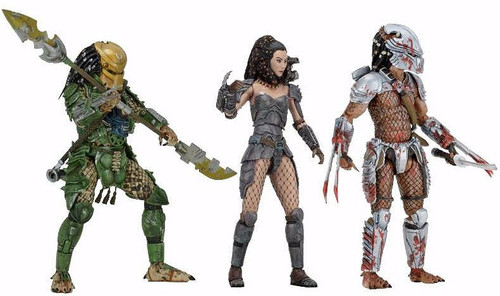 NECA Predator Series 18 Hornhead, Broken Tusk & Machiko Noguchi Set of 3 Action Figures [Ultimate Bodies]
