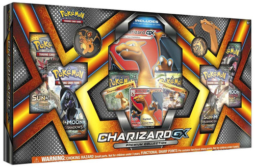 Pokemon Trading Card Game Sun & Moon Charizard-GX Premium Collection [6 Booster Packs, 3 Promo Cards, Oversize Card & Pin!]
