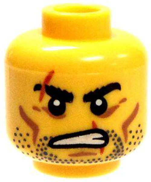 Stubble & Scars Over Eyebrow & Mouth Minifigure Head [Yellow Male Loose]
