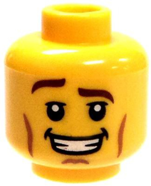 Raised Right Eyebrow, Cheek Lines & Open Mouth Smile with Teeth Minifigure Head [Yellow Male Loose]