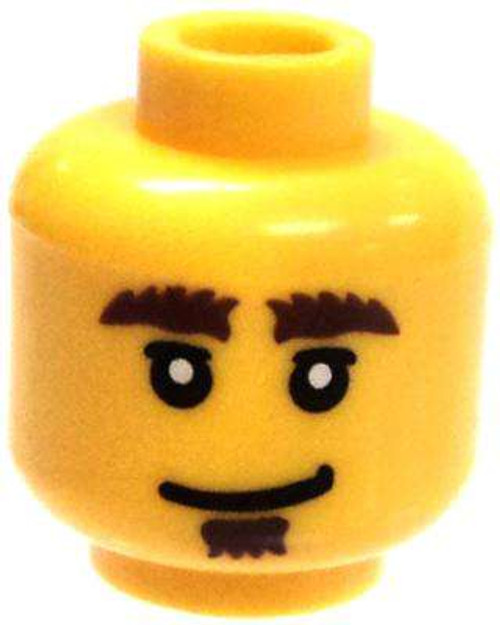Dual-Sided Male Smile & Scared with Brown Bushy Eyebrows & Soul Patch Minifigure Head [Yellow Loose]