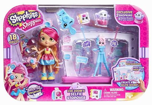 Shopkins Shoppies Season 8 World Vacation Zoe Zoom's Selfie Stopover Exclusive Playset