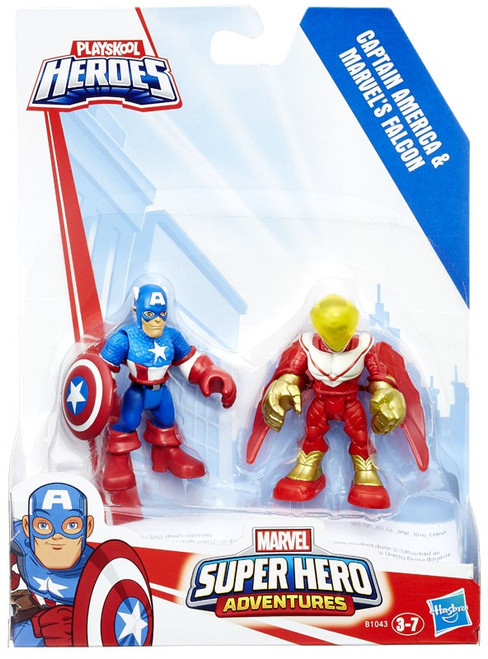 Playskool Heroes Super Hero Adventures Captain America & Marvel's Falcon Action Figure 2-Pack