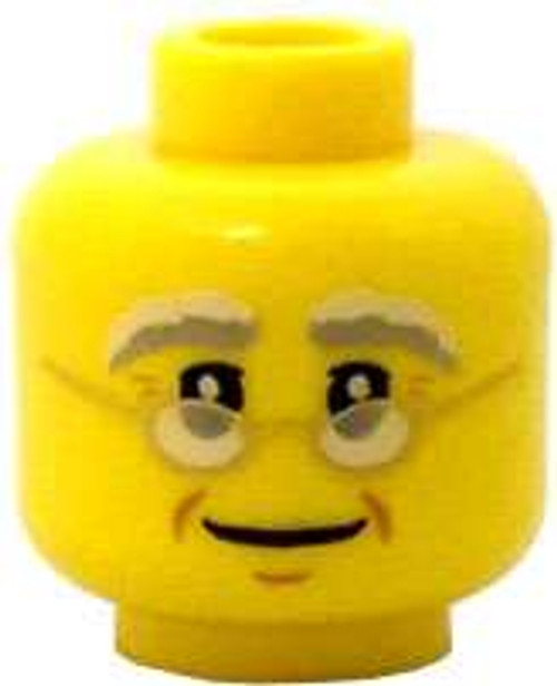 Yellow Male Gold Frame Glasses with Light Gray Eyebrows Minifigure Head [Loose]