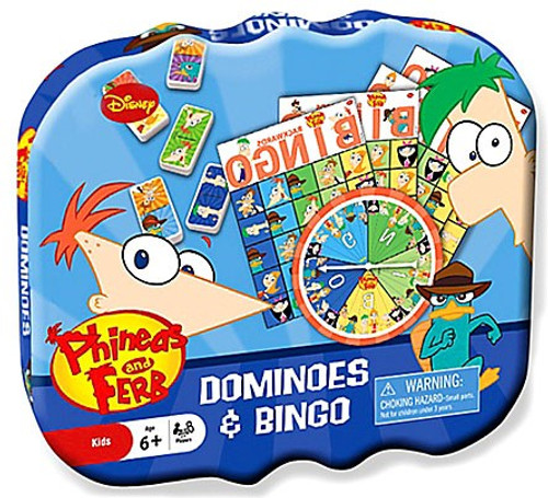 Disney Phineas and Ferb Dominoes and Bingo Game Tin