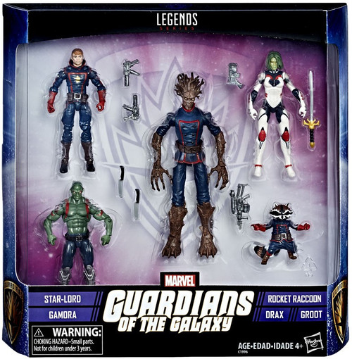 Guardians of the Galaxy Marvel Legends Star Lord, Gamora, Rocket, Drax & Groot Exclusive Action Figure 5-Pack