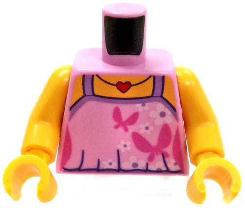 LEGO Pink Tanktop with Butterfly Pattern and Heart Necklace Loose Torso [Loose]