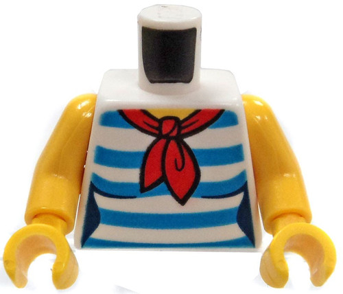 LEGO Female Torso with Red Scarf and Blue and White Stripped Shirt Loose Torso [Loose]
