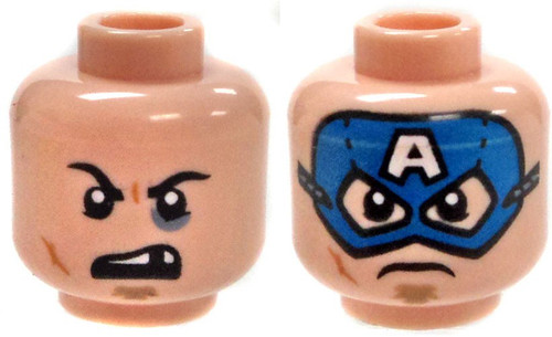 Dual Sided Captain America Mask, Angry Face and Missing Tooth Minifigure Head [Loose]