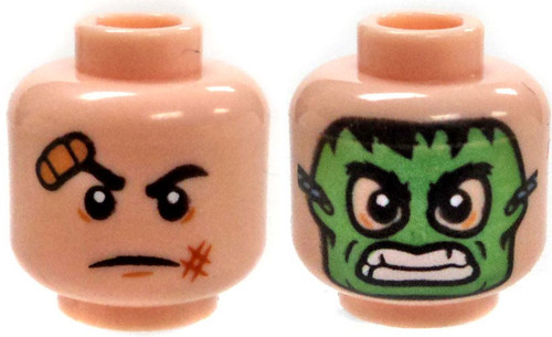 Dual Sided Flesh Head Hulk Mask, Serious Face with Bandage Above Eye Minifigure Head [Loose]