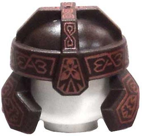 LEGO The Lord of the Rings Dark Brown Dwarf Helmet with Light Brown Runes [Gimli Loose]