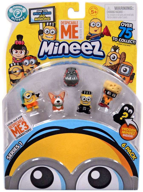 Despicable Me Minions Mineez Series 1 Surf's Up Minion, Yard Dog, Luau Kyle, Mugshot Minion & Cheese Fest Margo Mini Figure 6-Pack