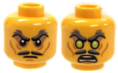 Sucken Eyes and Mustache / Glowing Eyes Minifigure Head [Dual-Sided Print Loose]