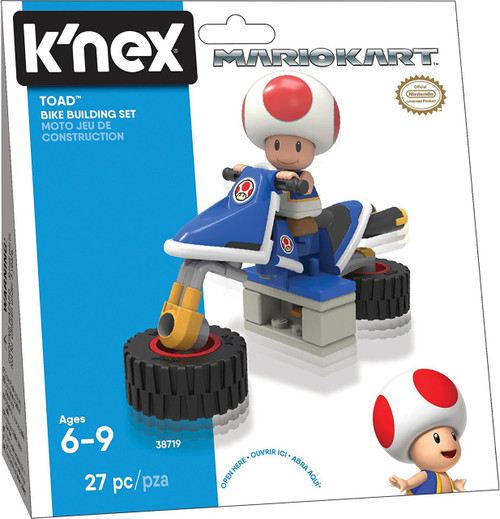 K'NEX Super Mario Mario Kart 8 Toad Bike Building Set #38719
